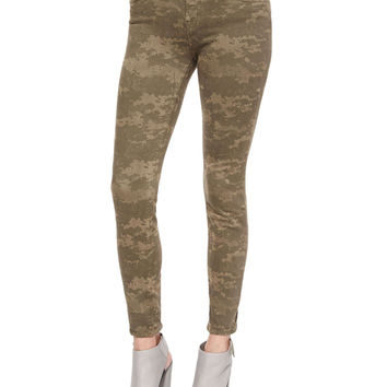 Mid-Rise Skinny Jeans, Olive Drab