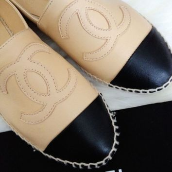 NIB CHANEL Leather Espadrilles Flats Shoes Two Tone Cap Toe,Size 35-42