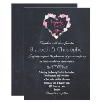 Happily Ever After Glittery Pink Hearts Wedding Card