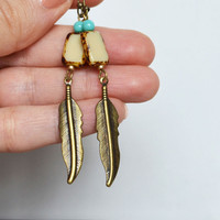 Small Tile Earrings, Feather Earrings, Feather Jewelry, Tuquoise Bead Earrings