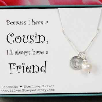 Gift for cousin gift sterling silver initial necklace with freshwater pearl necklace, June birthstone