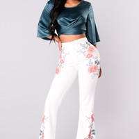Zena Trouser Pants - Ivory/Multi