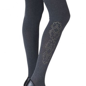 "ZOHARA ""CAUGHT IN THE METAL"" HEATHER GREY PRINT TIGHTS (ZOF368-HGG)"