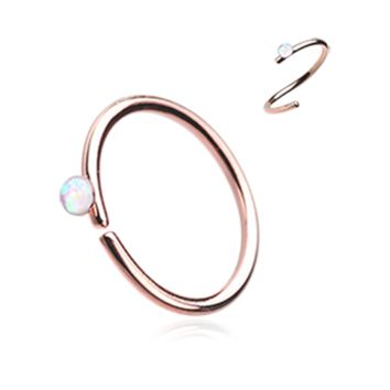 Rose Gold White Opal Bendable Nose Ring Nose Hoop  20ga Body Jewelry Steel