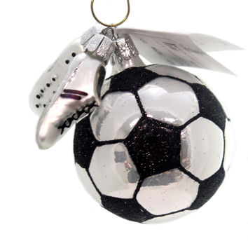 Golden Bell Collection Soccer Ball & Cleats Glass Ornament