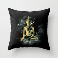 Enlightened Buddha Throw Pillow by Derek Fleener