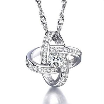 Simulated Diamond Love Knot Necklace