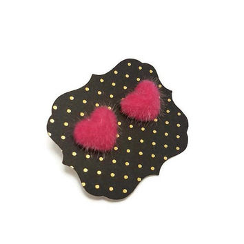 Hot Pink Fuzzy Earrings • 90s Earrings • Heart Earrings • Fuzzy Heart Earrings • Pink Earrings • Hot Pink Gifts • Christmas Gift • Halloween