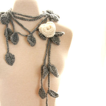 Crochet Lariat Necklace Rose Scarf Whimsical by nightowlcreates