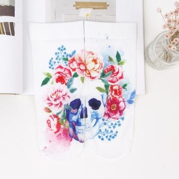 Foot 22-25cm Silk Socks Skull Parrot Coloured Painted Drawing Camellia Painting Rose Rosella Peony Jaba Mulberry Moth Orchid Sox - skull