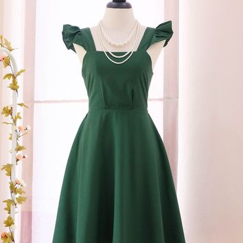 SALE Forest green dress solid green dress vintage dress party dress bow back dress party prom dress tea dress Small size