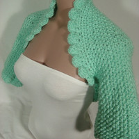 Hand knitted crocheted (Mint Green) short sleeve bolero shrug by Arzu's Style