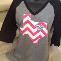 V-neck Shirt with Hot Pink and White Chevron Texas
