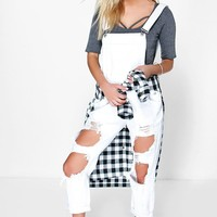 Nia Distressed Ripped White Dungarees