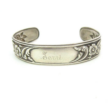 S. Kirk and Son Bracelet. Sterling Silver Floral Cuff. Embossed Rose, Anemone Flowers. Engraved Terri. Personalized Vintage 1950s Jewelry