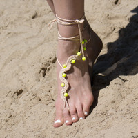 Beach Barefoot Sandals with Neon Yellow Beads