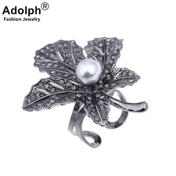 ADOLPH Star Jewelry Vintage Boho Maple leaf Pearl Ring Woman Punk Extendy Antique Adjustable Rings Fashion Accessories Femme