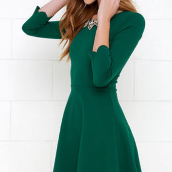 Cumulonimbus Clouds Dark Green Skater Dress