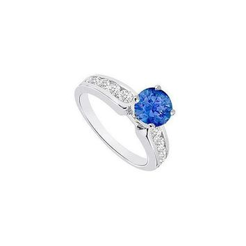 Sapphire and Diamond Engagement Ring 14K White Gold  1.10 CT TGW
