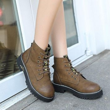 Round Toe Lace Up Flat Short Martin Boots