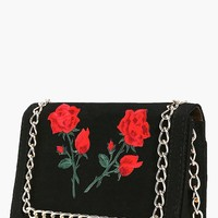 Nicole Floral Patch Chain Trim Cross Body Bag | Boohoo