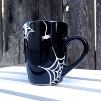Spider Web Halloween Mug- Hand Painted- Black Coffee Mug-12-14 oz. Shape and size may vary-See description for FREE SHIPPING