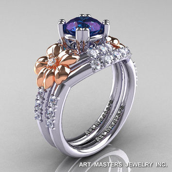 Nature Inspired 14K White Two-Tone Rose Gold 1.0 Ct Alexandrite Diamond Leaf and Vine Engagement Ring Wedding Band Set R245S-14KTTWRGDAL