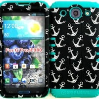 LG Optimus G Pro E980 Anchor on Hard Plastic Snap on + Teal Silicone Hybrid Cover Case.