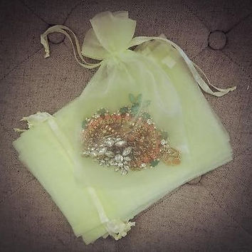 10 Large Lemon Mint Organza Favor Pouches Wedding Gift Bags Yellow Lime Green