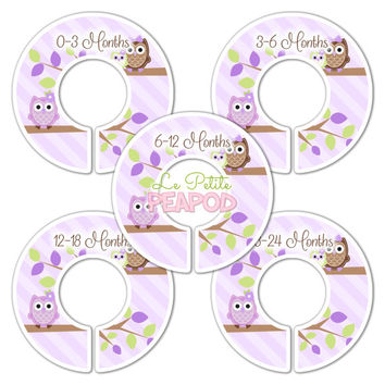 5 Custom Baby Closet Dividers - Nursery Organizers Purple  Owls Baby Girl Nursery Shower Gift - Baby Clothing Dividers