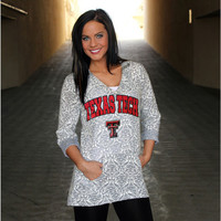 Texas Tech Raiders Women's Official NCAA DAMASK LASER CUT TUNIC HOODIE