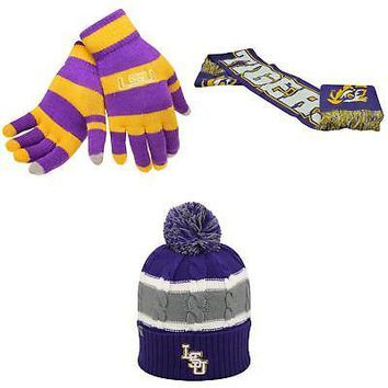 Licensed NCAA LSU Tigers Glove Stripe Knit Spirit Scarf And Windy Beanie Hat 3Pk 85488 KO_19_1