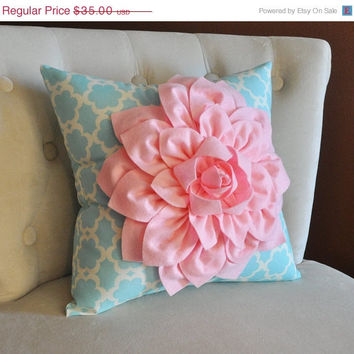 MOTHERS DAY SALE Light Pink Dahlia Flower on Blue Tarika Pillow Accent Pillow Throw Pillow Toss Pillow