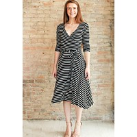 Ellerly Striped Wrap Dress - black