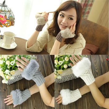 Fashion Cute Faux Rabbit Fur Hand Winter Warmer Knitted Fingerless Gloves Mitten 8 colors to choose
