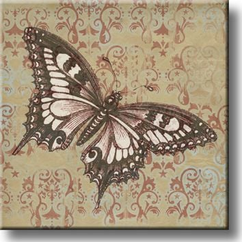 Vintage Butterfly Picture on Stretched Canvas, Wall Art Décor, Ready to Hang