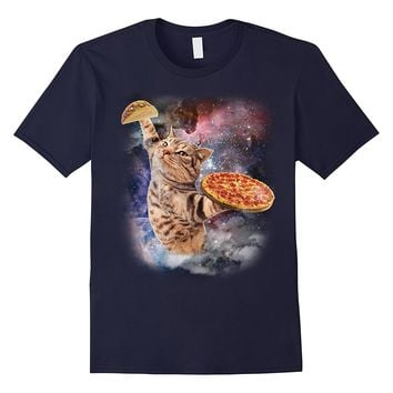 Cat eats pizza in galaxy