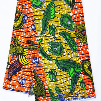 African print Fabric African fabric by the yard Wax print fabric African clothing Ankara fabric by the yard cotton brown orange patch