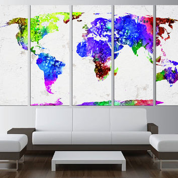 World Map wall art Canvas print, Large wall Art, watercolor wall art, World Map canvas print, watercolor world map, extra large wall art 522