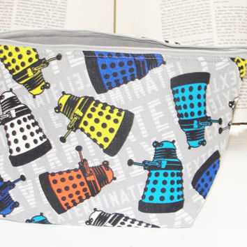 Medium Wide Zipper Pouch, Handmade with Dr. Who Daleks Exterminate, Perfect for cosmetics, knitting, toiletries, makeup, traveling