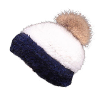 Mink Limited Edition Full Fur Hat Stripe Navy and White