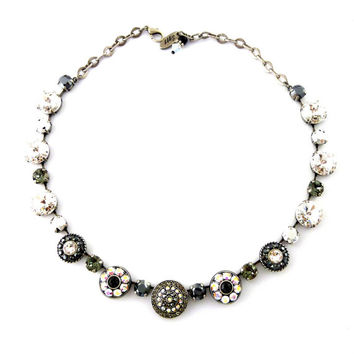 Swarovski Crystal Statement Necklace, Dramatic, Ornate Flowers, Black, Clear, Metallic Silver, Over 100 Crystals, NIGHT FEVER, Siggy Jewelry