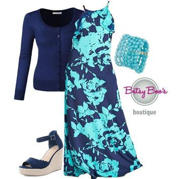 (pre-order) Set 414: Navy Mint Floral Maxi Dress (shoes sold separately)