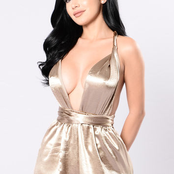 Breaking Boundaries Romper - Gold