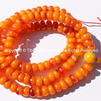 108 Beads - Tibetan Amber Resin Mala Prayer Beads - Tibetan Buddhist Prayer Beads Mala Making Supplies - Amber Resin Rosary - PB100B