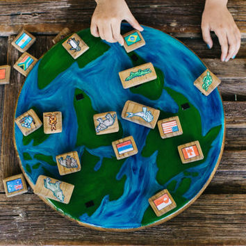 Handcrafted Wooden Globe Educational Toy/ World Animals/ World Flags