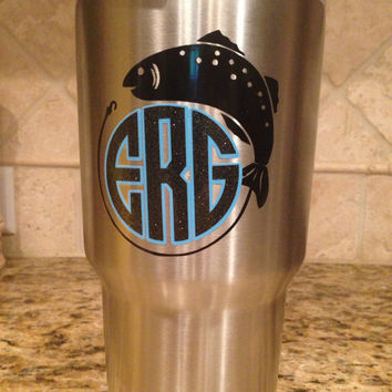 Fishing Monogram Layered Decal, Script Monogram, Yeti Monogram, Phone Monogram Sticker, Layered Vinyl  Decal, Car Sticker