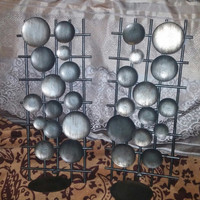 Metal Wall Panel Sconce Candle Holders Silver Gray With Small Circle Plaques and Ladder Like Design