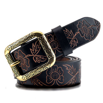 Fashion Good Quality Women Belt Cowhide Carved Flower Strap 100% Genuine Leather Belt For Women Pin Buckle Strap Vintage