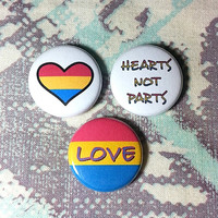 Pansexual Love Buttons - Set of 3
